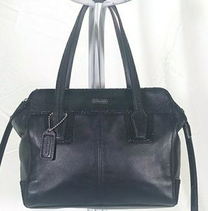 💕Coach Black Leather Tote Bag